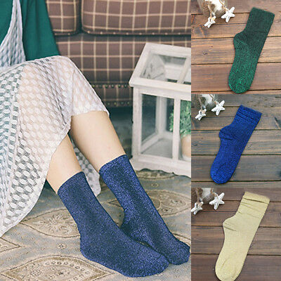 New Spring Autumn Women Thick Fashion Glitter Silver Silk Shiny Socks Blue Green