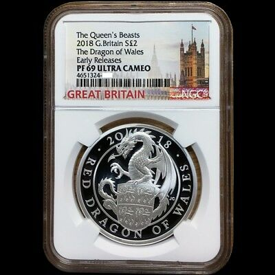 Queen's Beasts 2018 G. Britain £2 Dragon Of Wales Silver Proof Coin NGC PF 69 UC