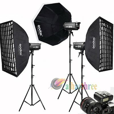 3Pcs Godox DP600II 600W 2.4G Wireless X1 System Strobe Flash Softbox Trigger Kit