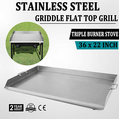 HEAVY 36 Inch Stainless Steel Flat Top Griddle Grill For Triple Burner Stove USA