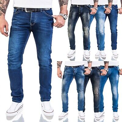 Rock Creek Designer Herren Jeans Slim Fit Basic Jeans Stretch Hose Blau M21