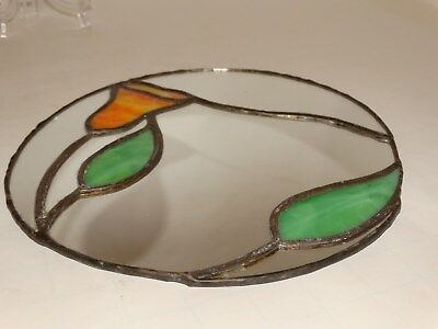Oval Stained Slag Glass Hanging Wall Mirror Art Nouveau, Art Deco, Arts & Crafts