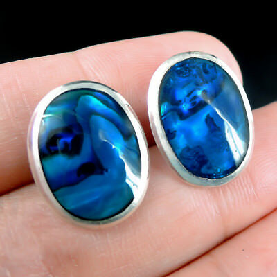 Medium Oval BLUE PAUA ABALONE SHELL 925 Sterling Silver Earrings STUDS Jewellery