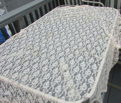 Tablecloth Antique Lace Scalloped Edges Oblong Round Peachy Tulle Gorgeous 89x62