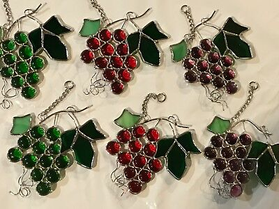 6-Piece Set Stained Glass 5 inch Grapes  Sun Catcher  [9046-2]