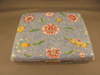 """Old Vintage Chinese Canton Enamel Hinged Covered Box 5 7/8"""" x 4 5/8"""" x 1 3/8"""""""