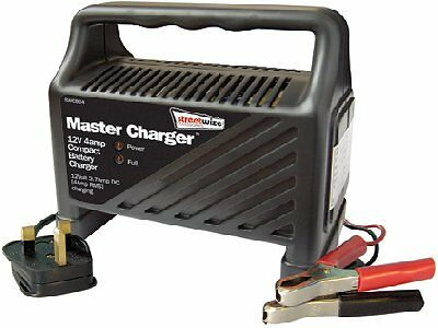 12v 4 Amp Battery booster Charger Car van 12 volt motorcycle 4A trickle charge