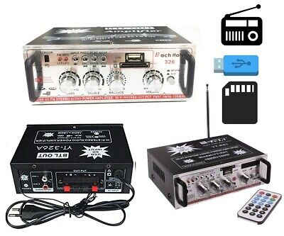 Amplificatore Hifi Audio 12V 220V Usb Sd Mp3 Fm Radio Per Pc Dvd Stereo Impianti