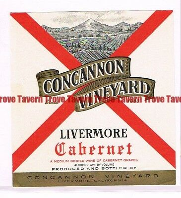 Unused 1940s CALIFORNIA Livermore CONCANNON VINEYARD CABERNET Label
