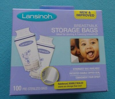 65 Lansinoh Breast Milk Storage Double Zipper Seal Bags BPA BPS Free
