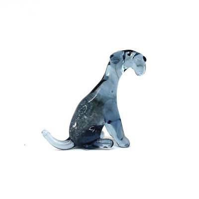 Middle blown glass figurine Dog - Kerry Blue Terrier sitting. Handmade #174