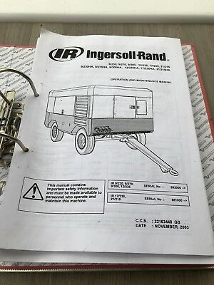 Ingersoll Rand 9/230 Air Compressor Operators Main. Parts Manual Cat Incvat