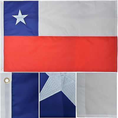 Chile 3' x 5' Ft 210D Nylon Premium Outdoor Embroidered Chilean Flag