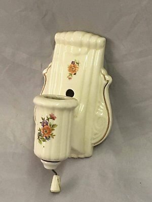 Vtg Ceramic Porcelain Bathroom Shabby Floral Chic Wall Light Sconce 84-18E