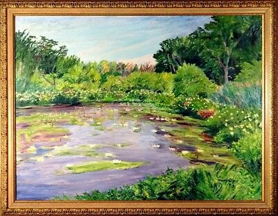 Amazing Extra Large ca.1990 Water Lilies Oil Painting on Canvas w/Frame Signed