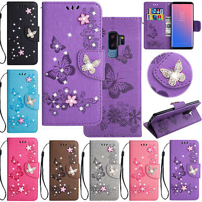 Diamond Bling Leather Pattern Wallet Case Cover For Samsung Galaxy S9/S10/Note 9