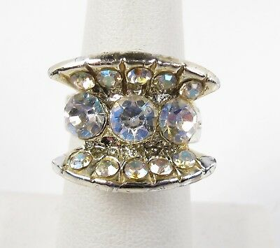 Vintage Silver Rhinestone Cluster Art Deco Style Costume Ring Size 6 Adjustable