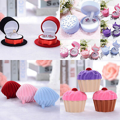 Colorful Luxury Velvet Jewelry Gift Box Simple Ring Studs Earrings Box AU