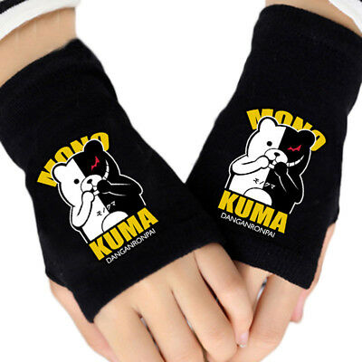 Fashion Anime Danganronpa Logo Gloves Cotton Knitting Fingerless Mitten Cosplay