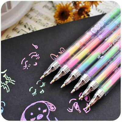 1Pc Novelty Gradient 6 Colors In 1 Gel Ink Pen Colorful Rainbow Student Pen Gift