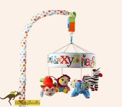 Brand New Baby Boy Girl 35 Songs Alphabet Zoo Animal Baby Cot Musical Mobile