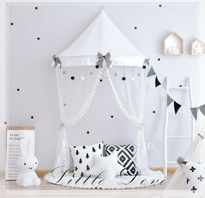 Bed Canopy Princess Lace Play Tent Round Hoop Netting Mosquito Net Bedroom Décor