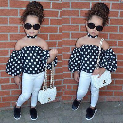 2PCS Toddler Kids Baby Girls T-shirt Tops+Denim Jeans Pants Clothes Outfits Set