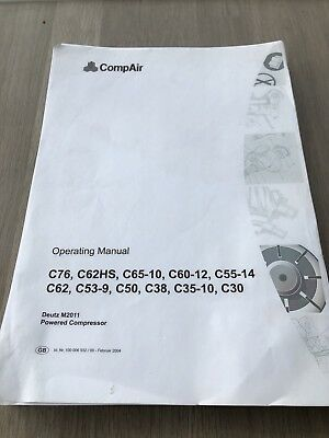 Compair C76 C50 C38 C55 C65 C60 Holman Portable Air Compressor Operators Manual