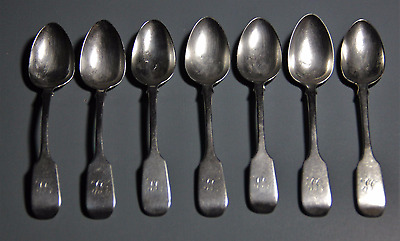 "set of 7 James E Ellis spoons 5-5/8"" 19th c. Toronto sterling silver"