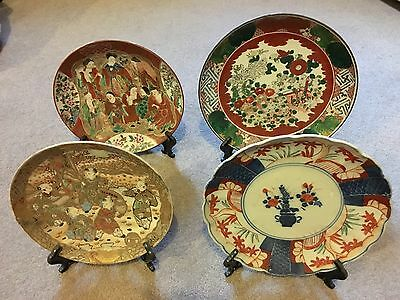 Bundle Of 4 Old Antique Japanese Plates Meiji Kutani, Ko Kutani, Imari, Satsuma