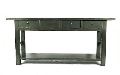 Vintage Chinese Console Table with Shelf - 4 Drawer - Blue Grey Green