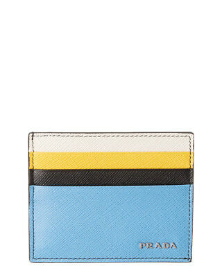 Prada Mens  Saffiano Leather Card Holder, Blue