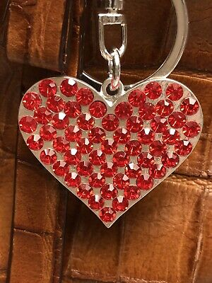 Metal Open Heart Ringed with Rhinestones Key Ring//Purse Charm//Zipper Pull