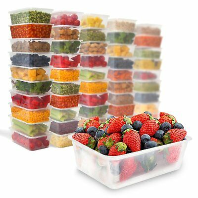 50 Plastic Food Storage Containers with Lids -Plastic Deli Take Out Bento Boxes