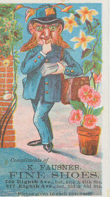 C8128   Victorian Trade Card  K Fausner Fine Shoes