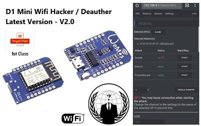 WEMO D1 MINI Wi-Fi Jammer Blocker Hacker Deauther - LATEST Version 2 0  ESP8266