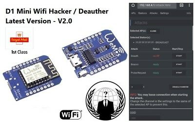 Wemo D1 Mini - WiFiDeauth / Deauther, Jammer & Hacking Tool - ESP8266