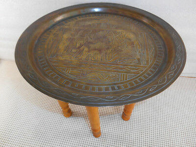 "Vintage EGYPTIAN 11"" ETCHED BRASS TABLE TRAY FOLDING WOOD LEGS 8 1/4"" Tall Egypt"