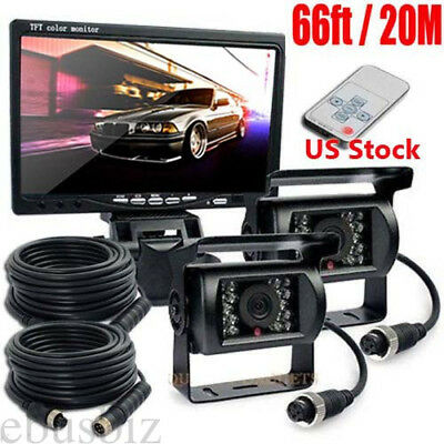 """2x 4Pin 20M Cable IR Rear View Back up Camera System+7"""" Monitor F Truck RV Bus"""
