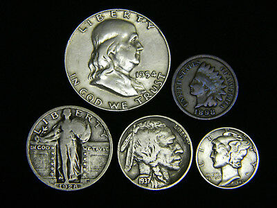 Old U.S. Silver Coins 5 Coin Collection Set