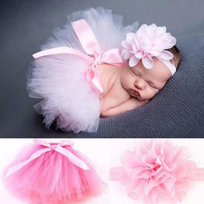 Baby Girls Newborn Headband Tutu Skirt Costume Photo Photography Prop ba#au