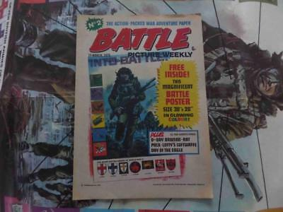 Battle Picture Weekly 2 15.3.75 Free Gift Poster! High Grade! Rare!