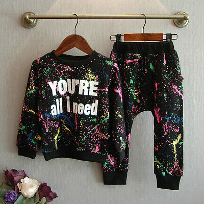 US Kids Baby Girls T-shirt Tops+Legging Pants 2pcs Outfit Clothes Sets Tracksuit