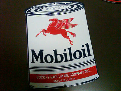 Mobil Oil Can Gasoline Porcelain Advertising Sign