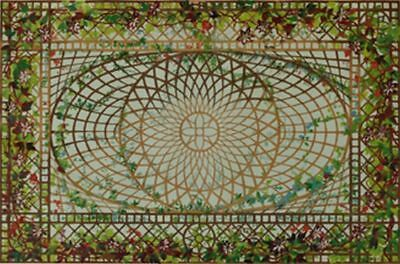 Dollhouse Wallpaper Ceiling Mural Greenhouse Trellis