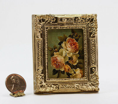 Dollhouse Miniature Gold Framed Picture of Pink Flowers
