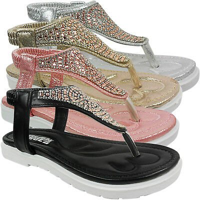 New Girls Childrens Flat Low Diamante Thong Toe Post Summer Sandals Shoes Size