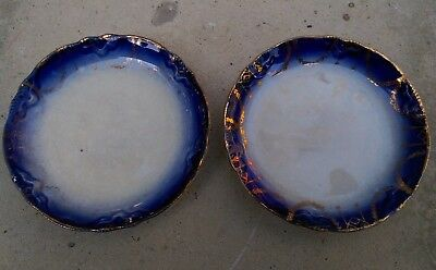 Pair of Antique Butter Pats - Flow Blue White + Gold - Scalloped Embossed Edge