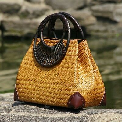 Hand Made Brown Colour Hand Bag Made Up Of Bamboo For Ladies Unique And Beautifu