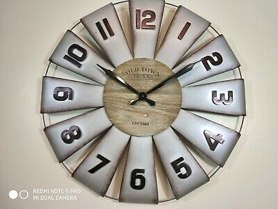 Extra Large Vintage Wooden Wall Clock Rustic Retro Kitchen Home Antique Deco 60c